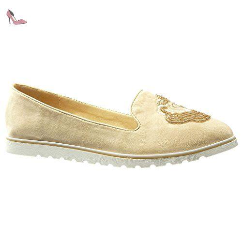 b2bcc22ce5117 Angkorly - Chaussure Mode Mocassin slip-on semelle basket femme brodé  bijoux perle Talon compensé