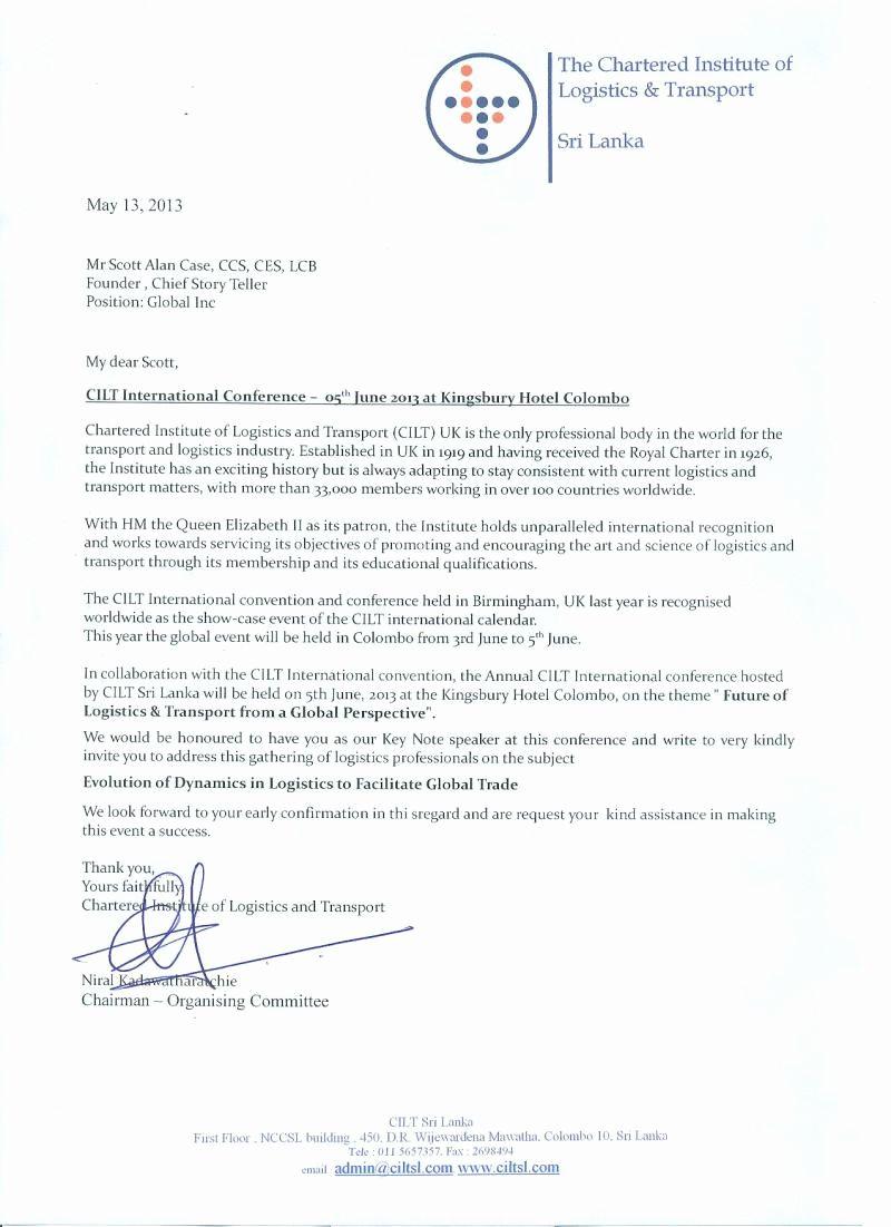 Keynote Speaker Invitation Letter Sample