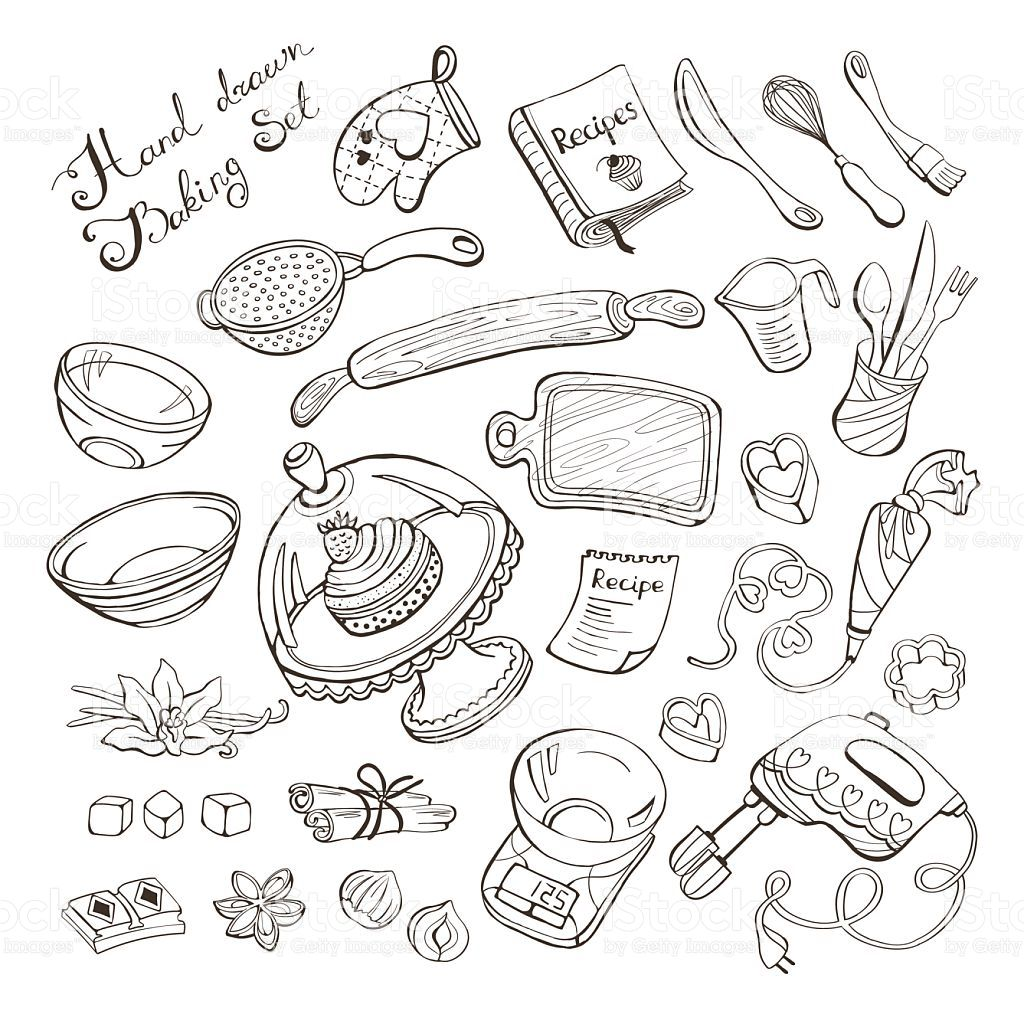 Baking Items Doodle Set Kitchen Tools Hand Drawn On