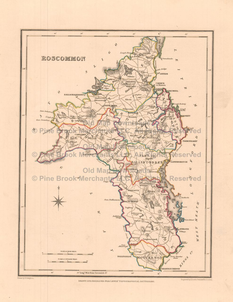 Old Map Downloads Roscommon County Ireland Old Map Lewis - Ireland map download
