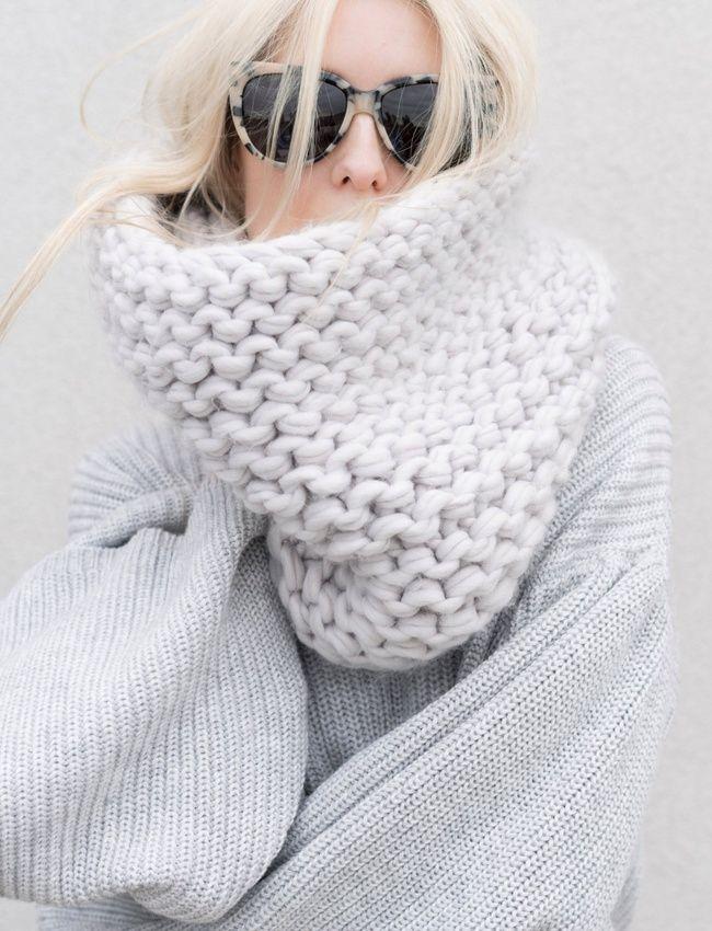 tricoter une echarpe grosse laine