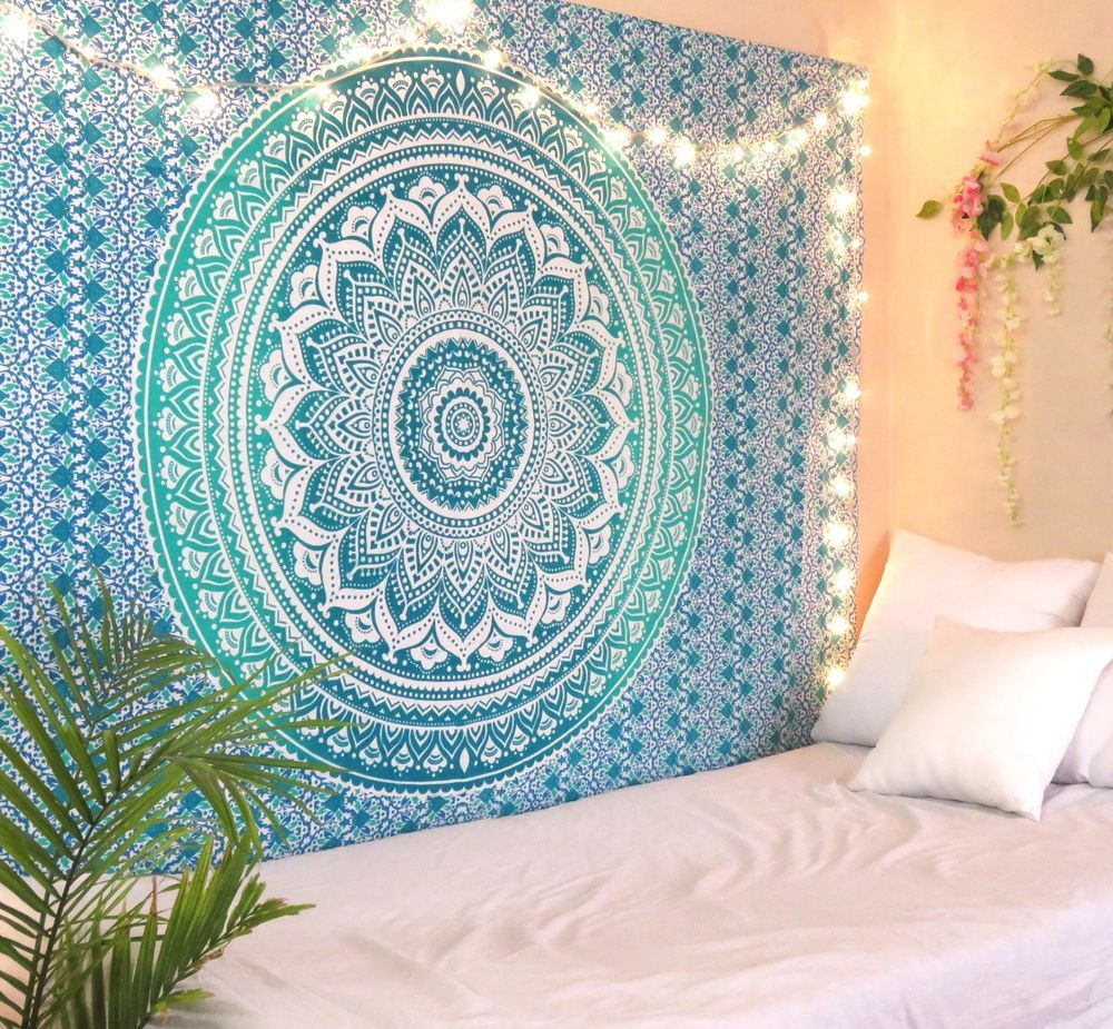 Floral Mandala Bedspread Wall Hanging Tapestry Bed Sheet Throw Blanket Decor