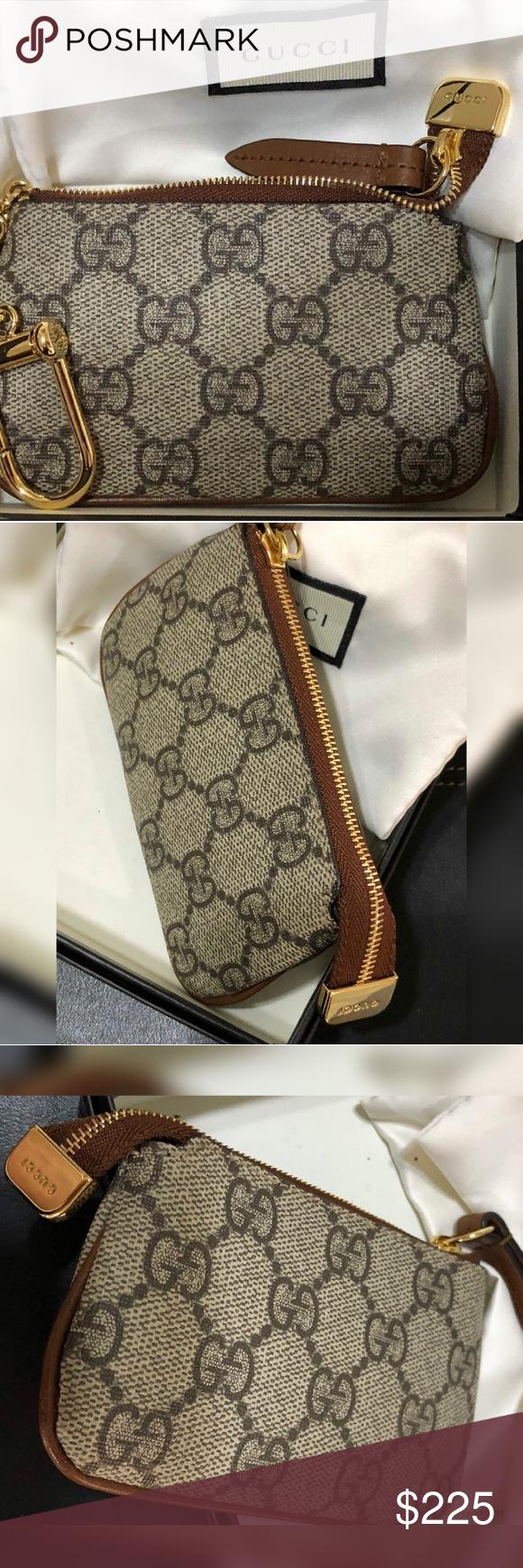 23d421ff0ae7 Gucci Key Case Zip Pouch Mini Wallet Change Ring Gucci GG Supreme Key Case  GG canvas