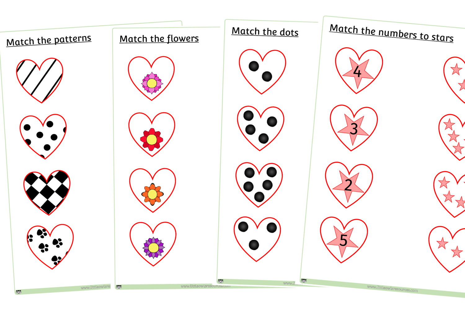 Free Match Heart Sheets Printable Early Years Ey Eyfs