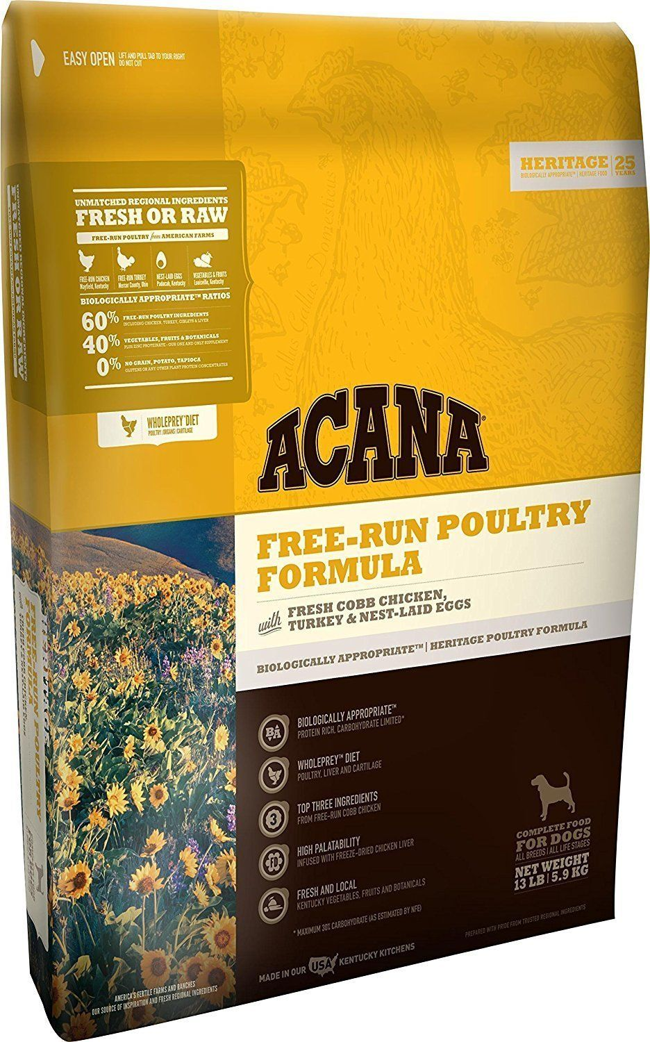 Acana Freerun Poultry Formula Dry Dog Food 13 Bag With Freerun