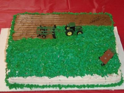 Tractor Cakes for Boys Or a tractor plowing a field Plus with