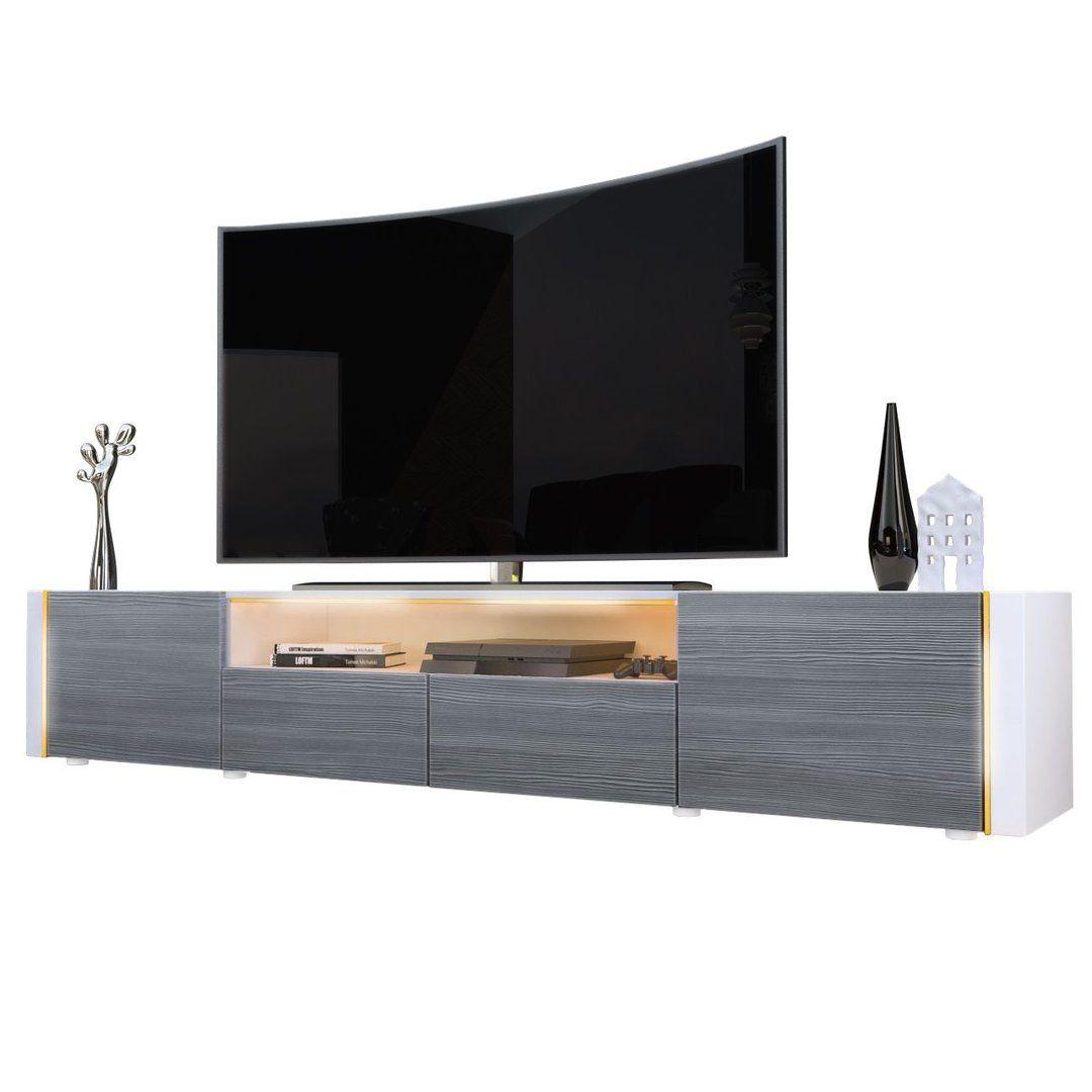 Casanova porta TV moderno, mobile soggiorno bianco con illuminazione ...