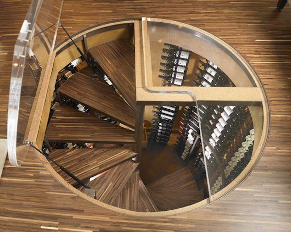 Spiral staircase lucite door wine cellar custom design home ideas