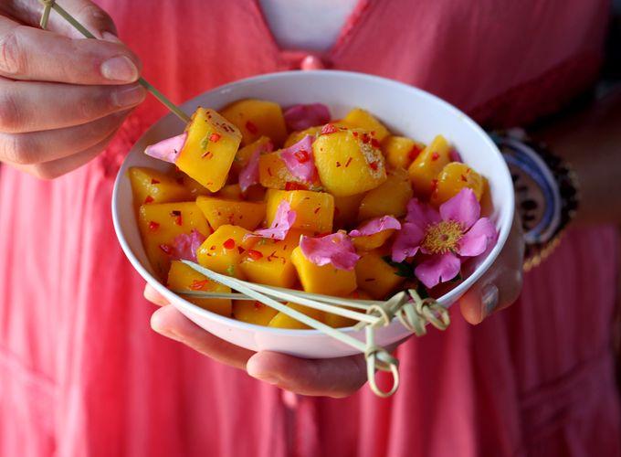 marinated mango w/ rose petals [My New Roots]