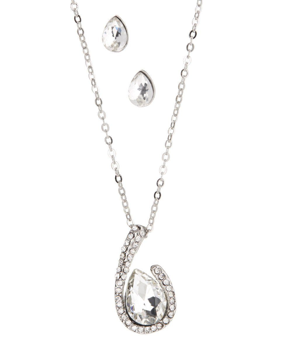 Crystal drop necklace earring set crystal drop drop necklace and