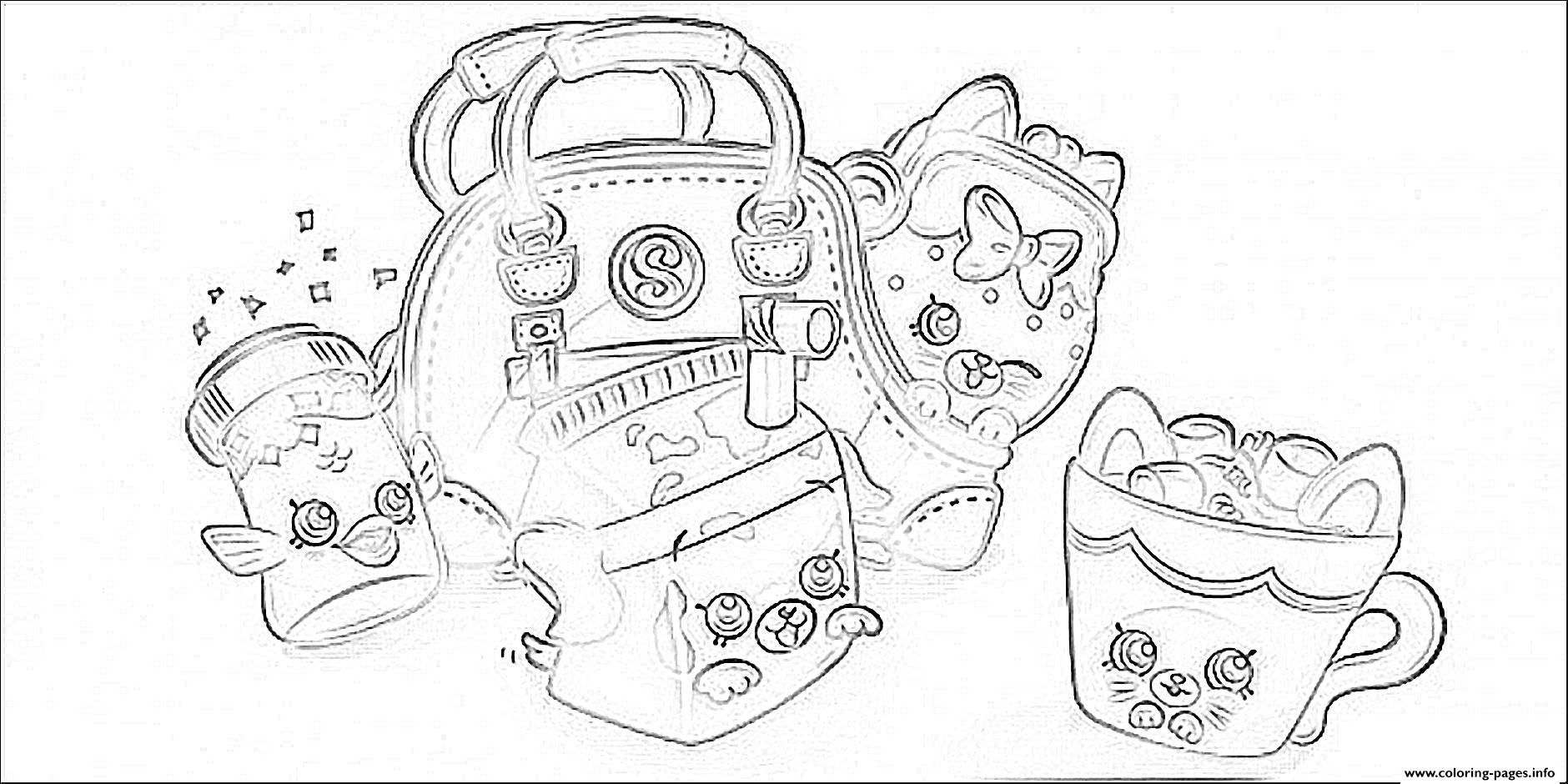Print cute shopkins bags coloring pages Shopkins colouring pages Disney princess coloring