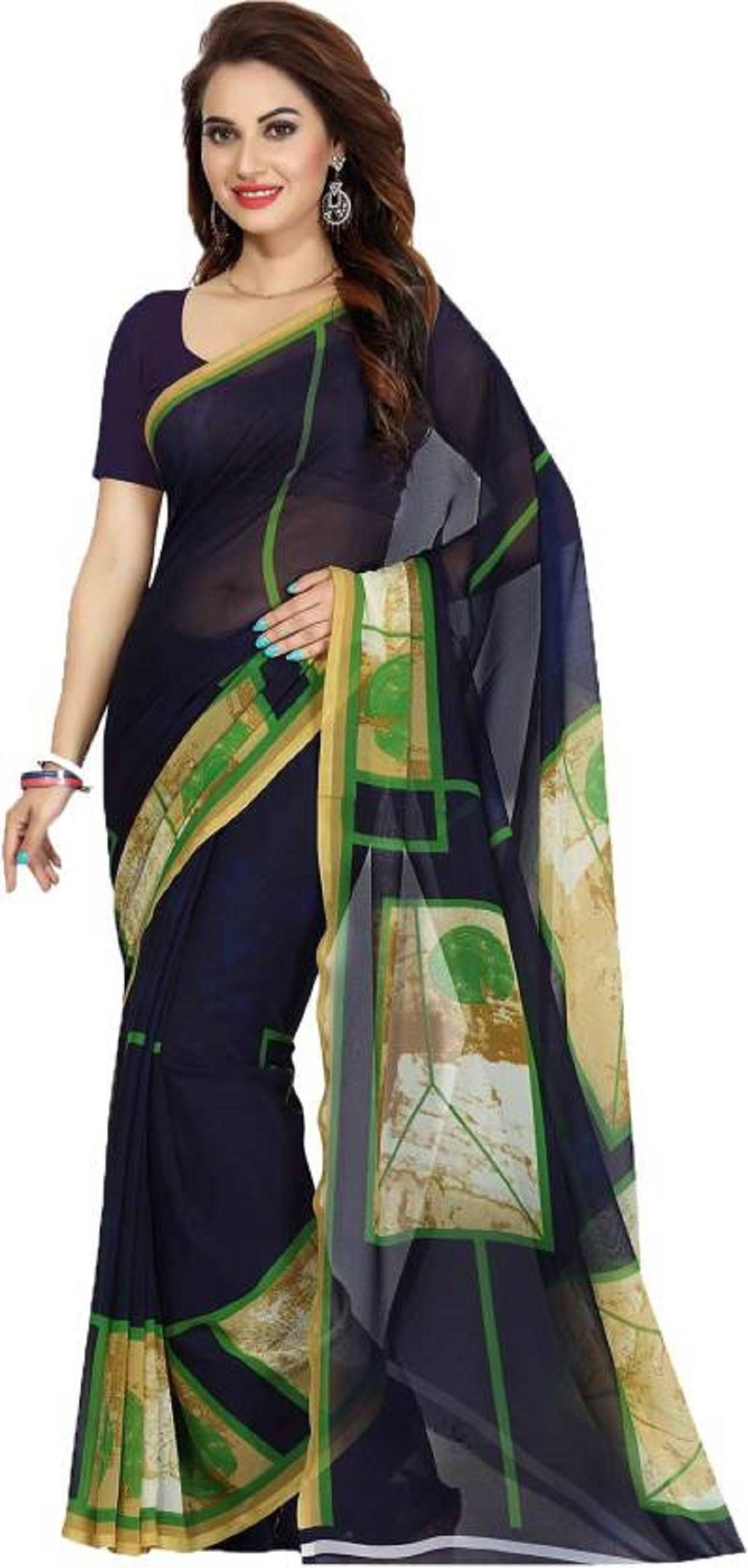 96598af49 Blue Georgette Printed Saree With Blouse Piece