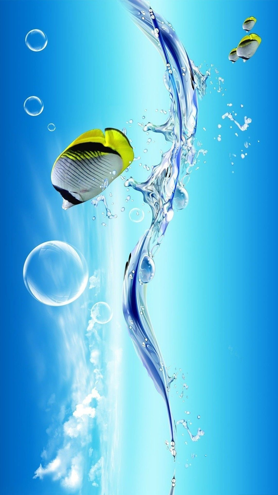3d Clownfish Iphone 6 Plus Wallpaper Ocean Fish Water Bubble Mobilee