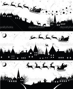 Scherenschnitt Vorlagen Zum Ausdrucken Weihnachten.Herunterladen Weihnachten Silhouetten Stockillustration