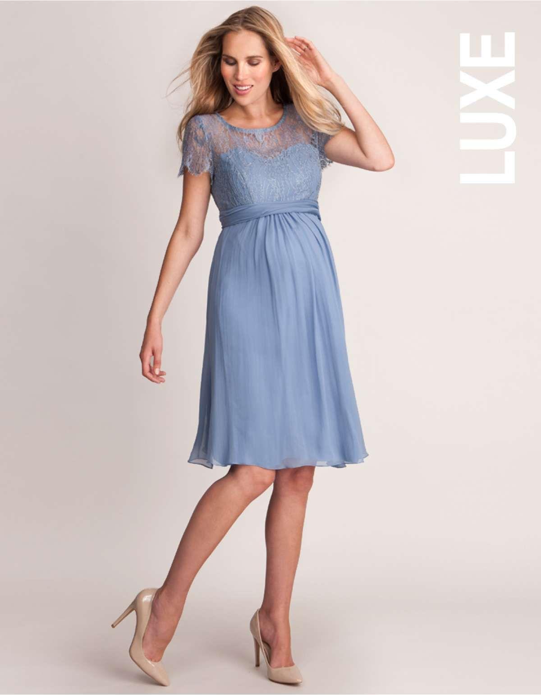 Cornflower Silk & Lace Maternity Dress niight | preg | Pinterest ...