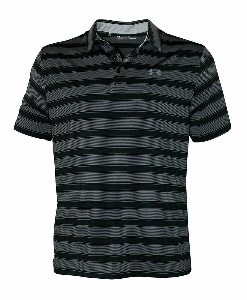 0a71f2ea NWT Under Armour Mens Performance Striped Polo Shirt Black L Large ...