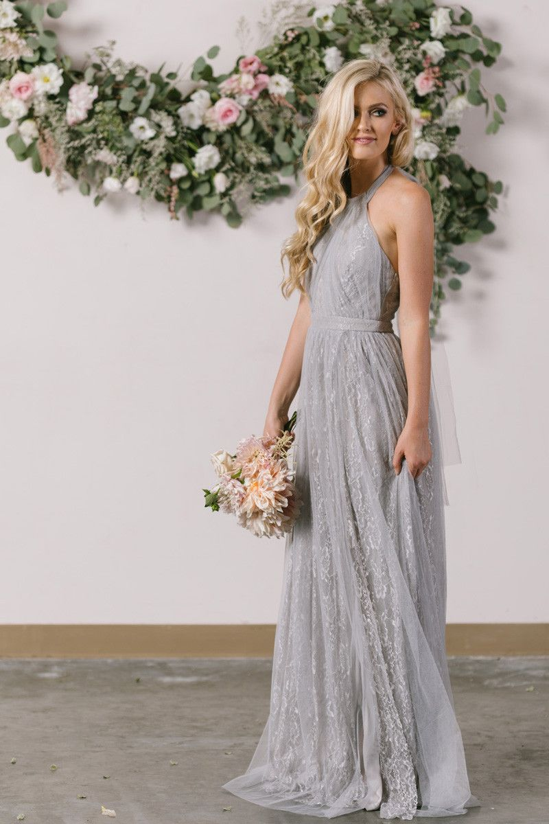 Isabelle grey tulle lace halter maxi dress halter maxi dresses