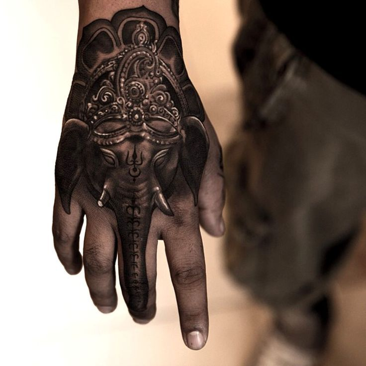 Awesome Black And Grey 3d Elephant Head Tattoo On Right Hand