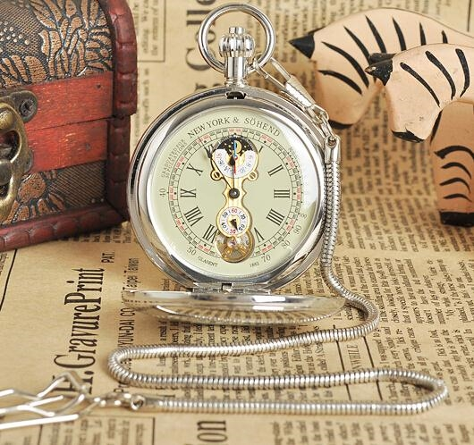 45.00$  Watch here - http://alifrb.worldwells.pw/go.php?t=32600680076 - New Brass Antique Double Cover Silver Automatic Mechanical Pocket Watch Free Shipping