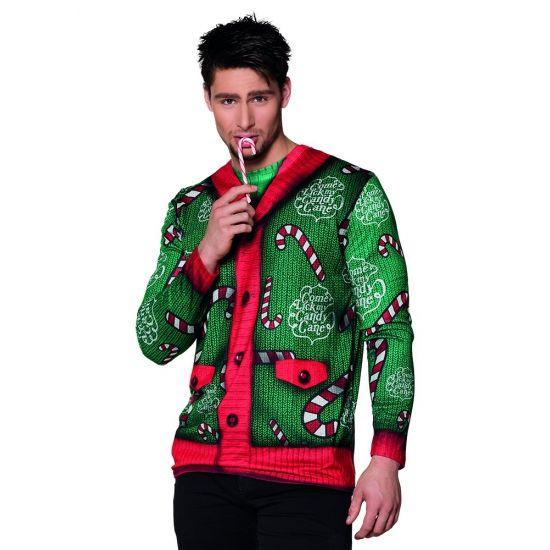 Kerst shirt met lange mouwen met een fotoprint aan beide zijden van kerst zuurstokjes. Materiaal: 100% polyester.