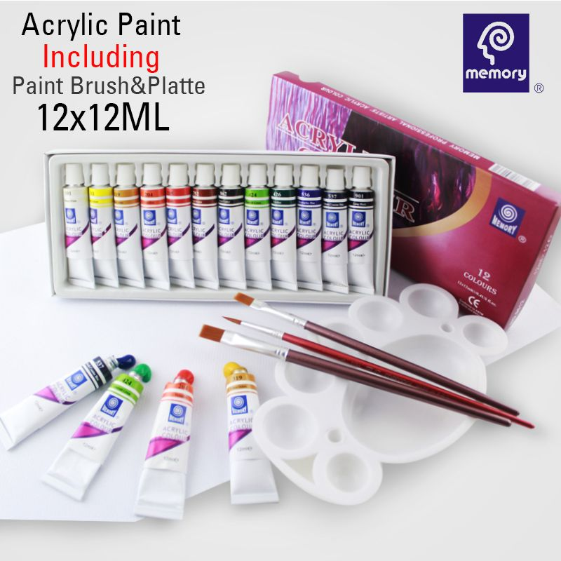 21 Memory Art Supplies High Quality Acrylic Paints Set 12 Colors