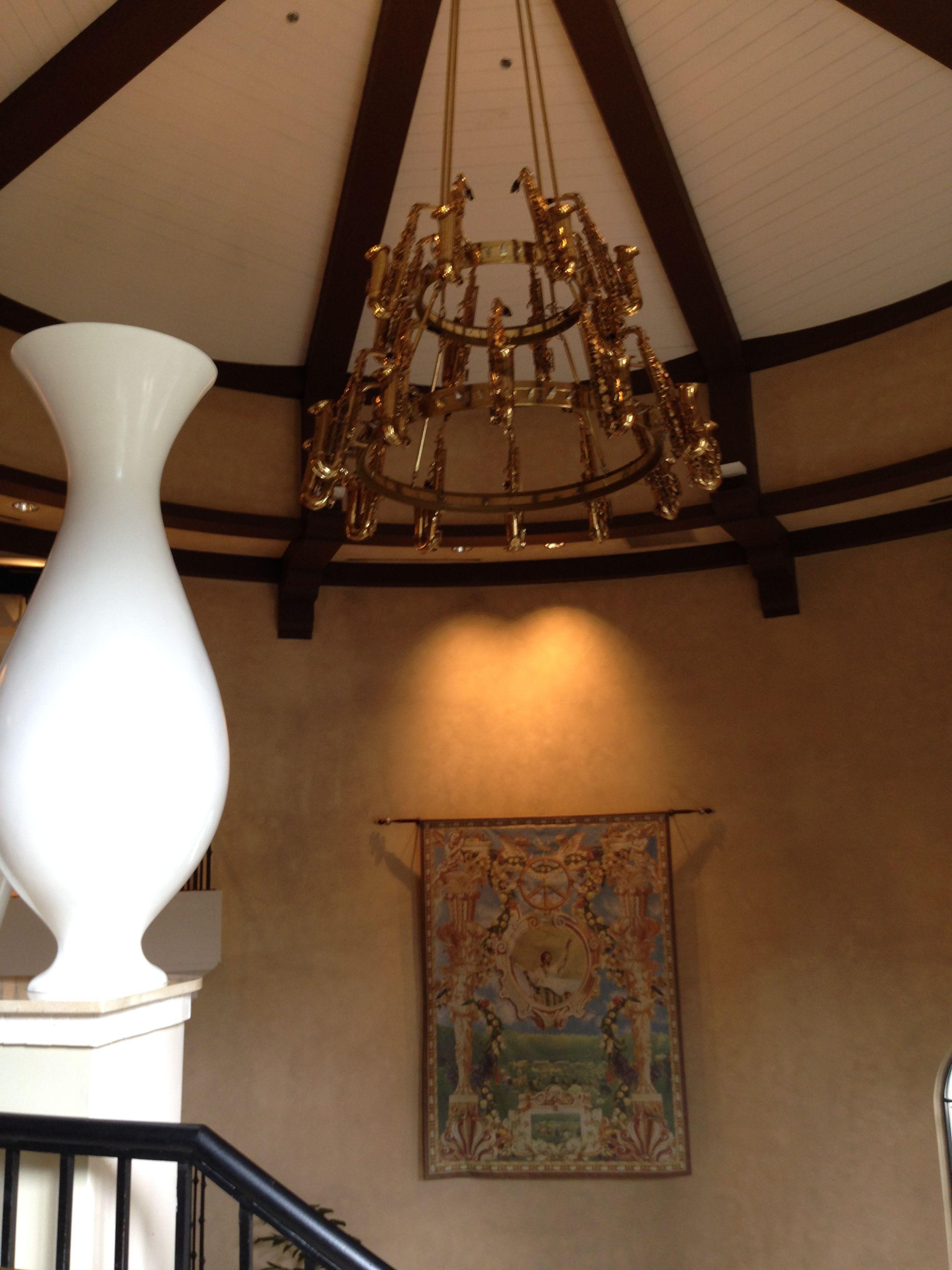 Saxophone chandelier at hard rock hotel orlando fl usa