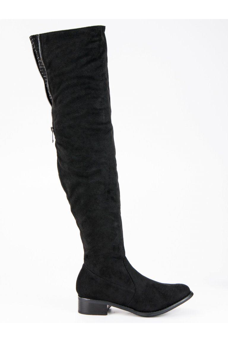 12794d61f896 Čierne semišové čižmy nad kolená Seastar