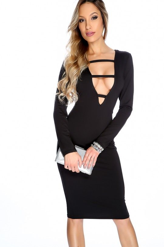 Sexy Black Strappy Plunge Neck Bodycon Party LBD