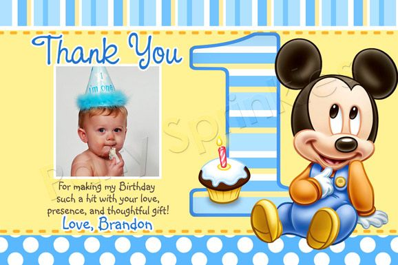 Baby Mickey Mouse Thank You Cards send personalized note on – 1st Birthday Thank You Cards