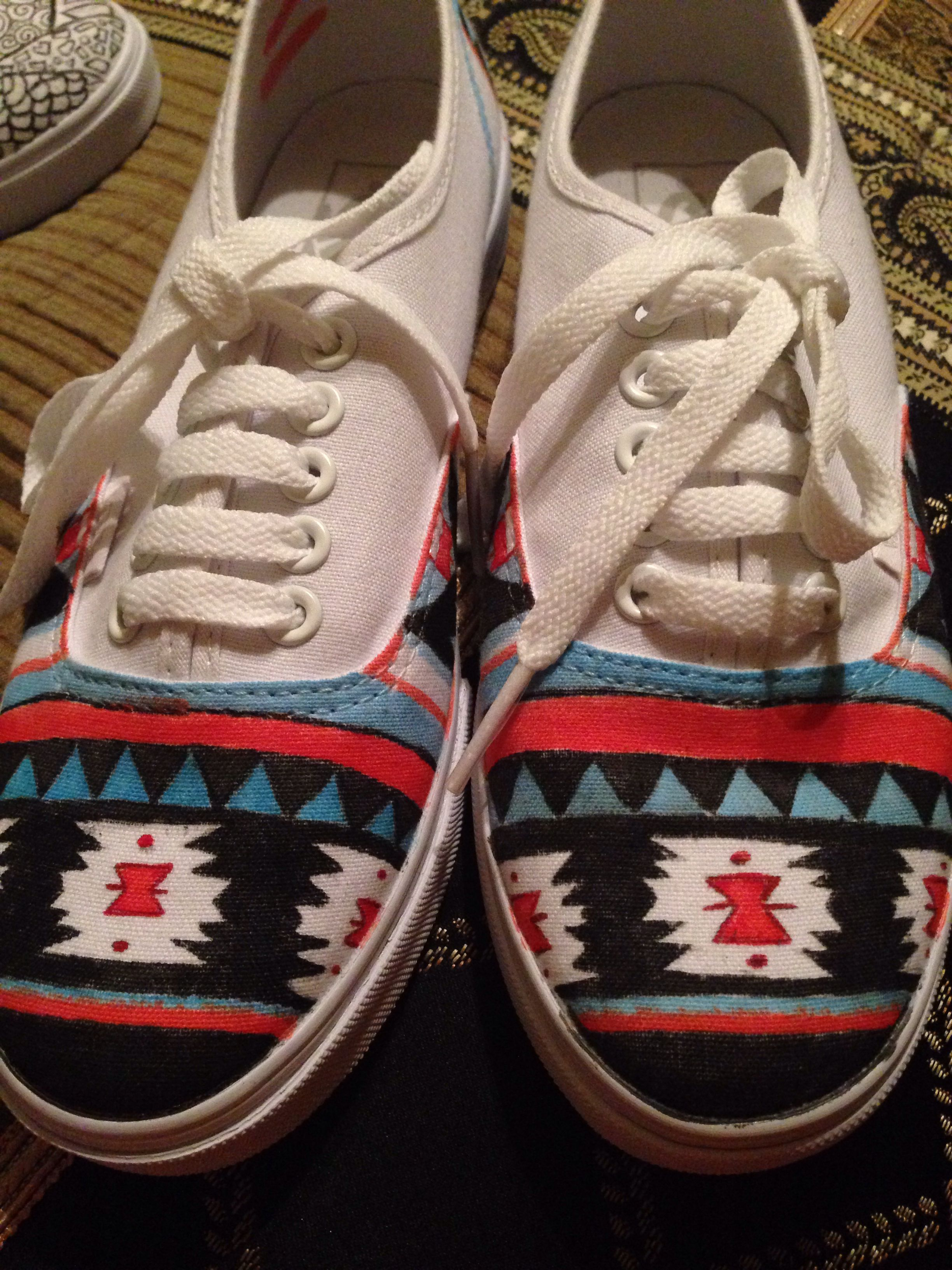 Diy white vans shoes decorated with tribal print