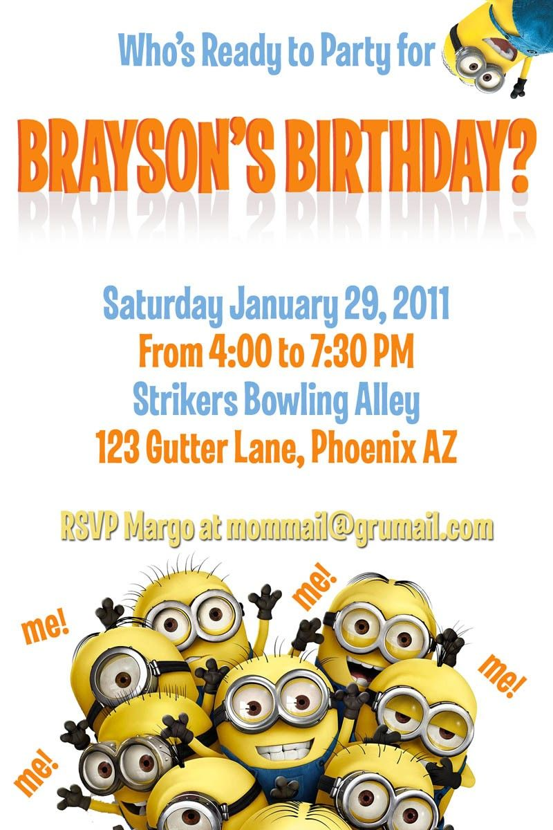 template for a dispicable me invitation cards