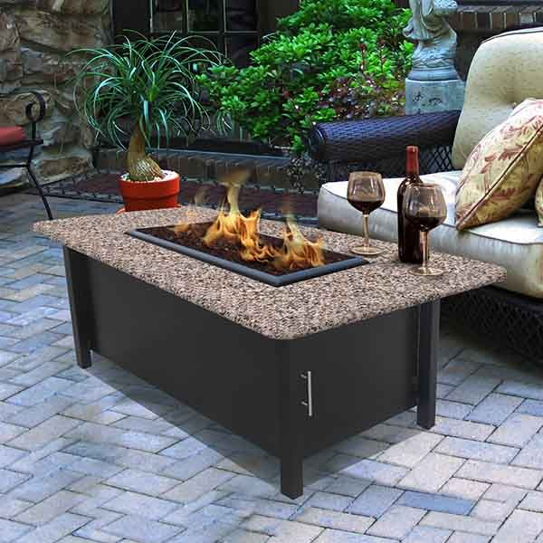 Carmel Chat Height Fire Pit Table With Rectangle Granite Top Coc 5010 Rect Ff