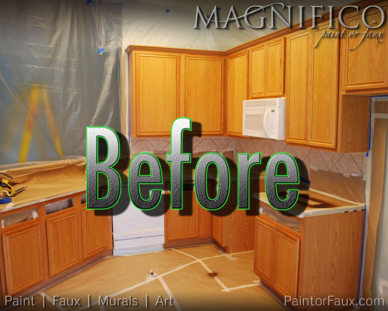 Builder Grade Oak Cabinets, Honey Oak Color ( Major Orange