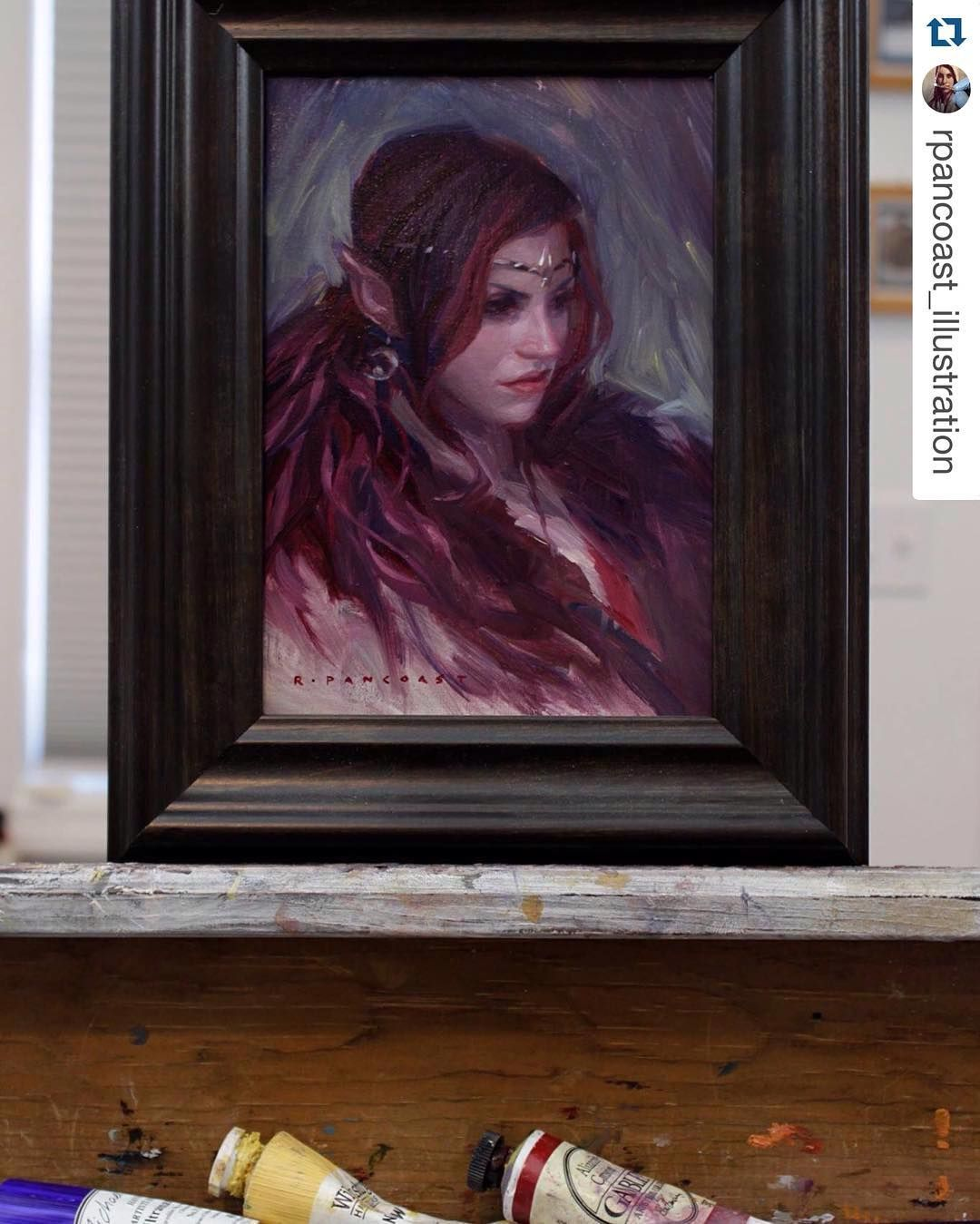 Posted by everydayorig : Today's #everydayoriginal is a brand new gorgeous oil painting from @rpancoast_illustration. Be sure to check it out Moon Elf on http://ift.tt/1BcdOeO  For sale @everydayorig ! #art #painting #oilpainting #drawing #illustration #elf #portrait