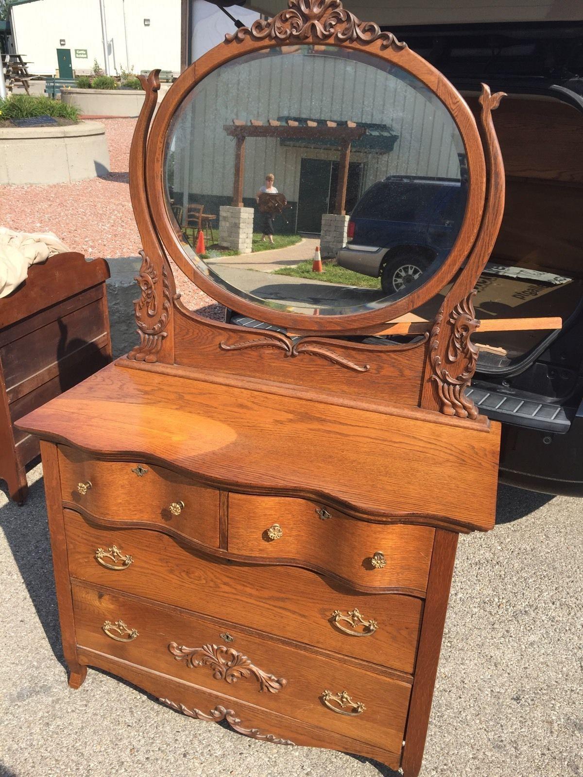 Antique Serpintine Dresser Oak Ornate Mirror Dovetailed