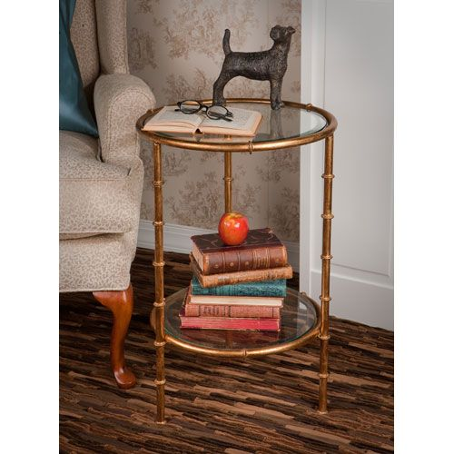 Antique Gold Bamboo End Table Dessau Home End Tables Accent Tables Living  Room Furniture