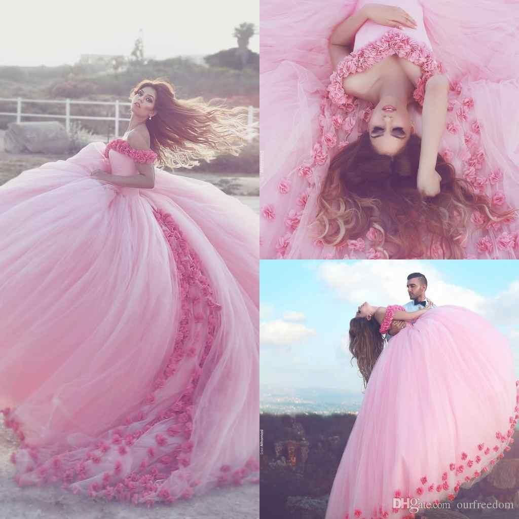 Cheap 2017 Saudi Ahamad Pink 3d Flora Appliques Quinceanera Dresses ...