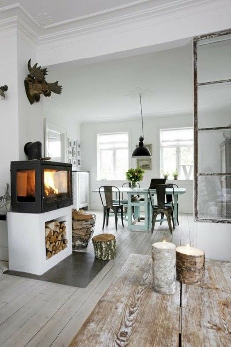 Great idea for the woodstove and to add storage below totally going see if we can do this danish home interior design also bistro chairs pinterest industrial rh