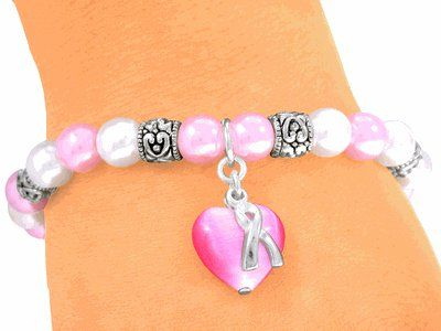 Soft Pink Pearl Bracelet  Breast Cancer Awareness Stretch Bracelet