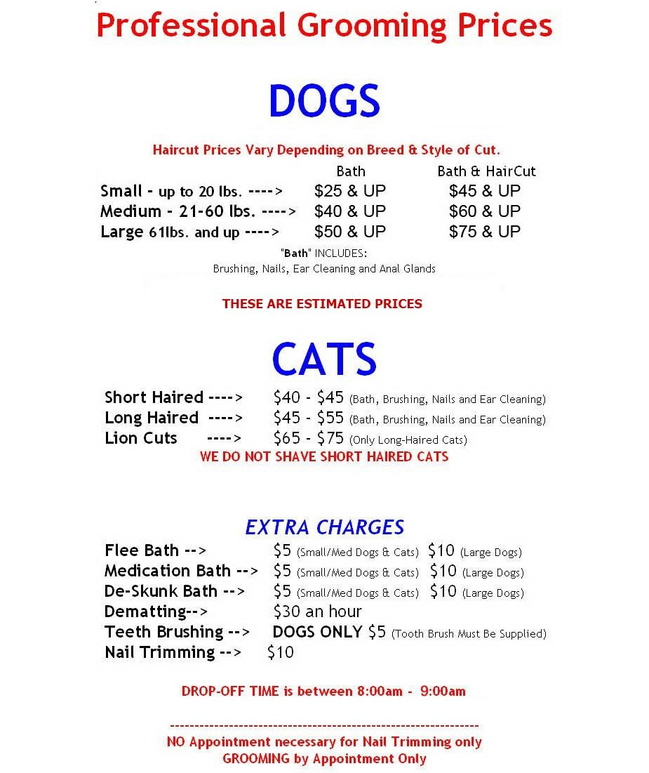 Dog Grooming Prices Houston