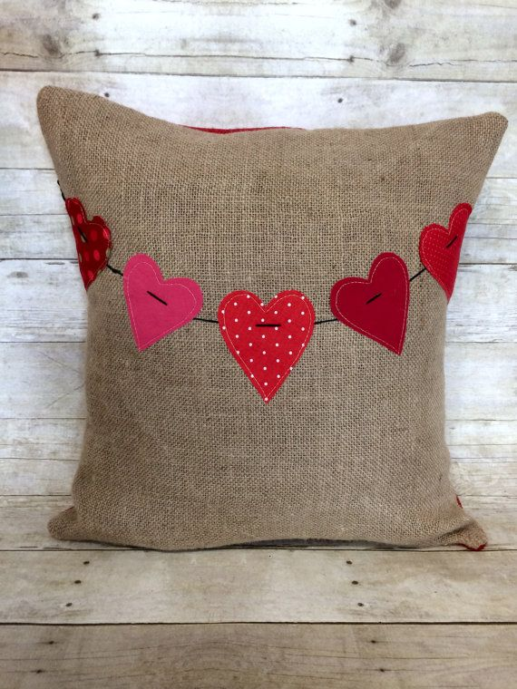 Valentine Heart Banner Burlap Pillow by Bella Gre Vintage ...