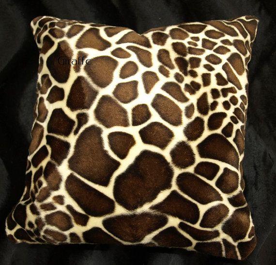 Giraffe Pillow Cover Set Of 2 Faux Fur Animal Print Pillow With Images Animal Print Pillows Giraffe Throw Pillow Faux Fur Pillow