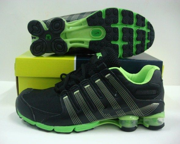 Womens Nike Shox R4 Stripe Black Green
