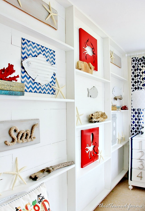 Nautical Bedroom with DIY Ledge Shelf Accent Wall | DIY Home Decor on classy decorating ideas, small bathroom decorating ideas beach, beach room decorating ideas, small bathroom remodeling ideas, beach themed bathroom ideas,