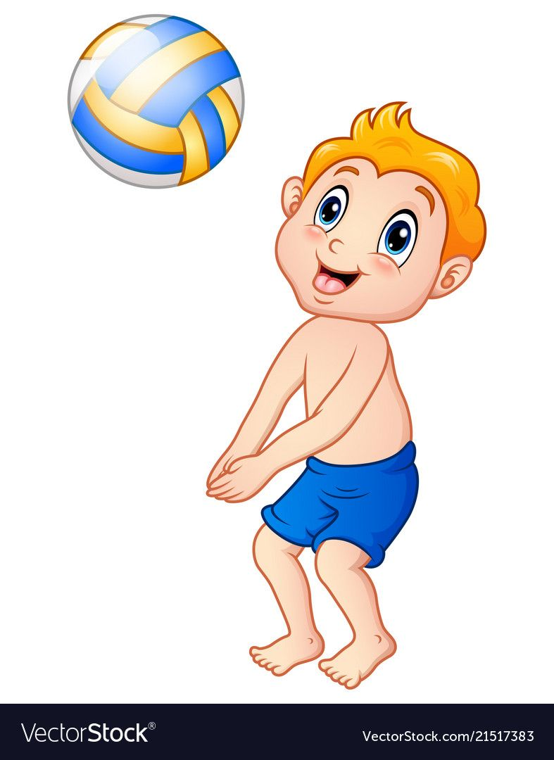 Funny Little Boy Playing Beach Volley Vector Image On Vectorstock Kids Canvas Painting Boys Playing Kids Canvas