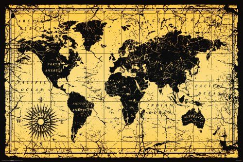 World map antique vintage old style decorative educational poster world map antique vintage old style decorative educational poster print 24x36 culturenik http gumiabroncs Choice Image