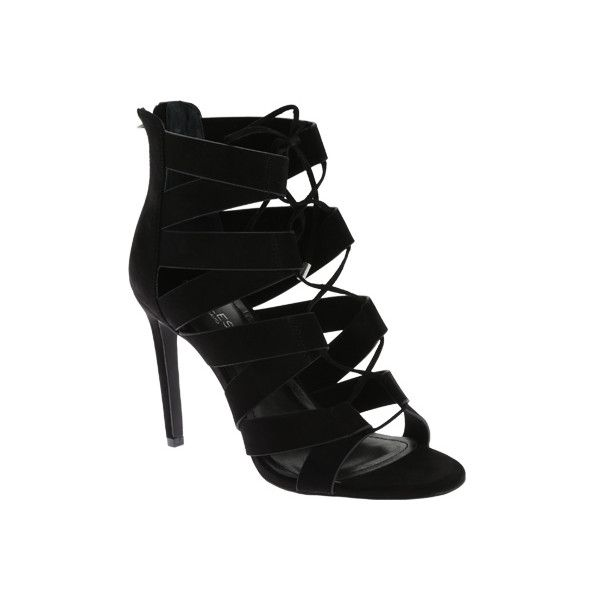 Women's Charles David Idlewild Cage Sandal - Black Microsuede Casual ($99) ❤ liked on Polyvore featuring shoes, sandals, black, cage shoes, casual, charles david shoes, lace up shoes, black cage shoes, kohl shoes and black caged sandals