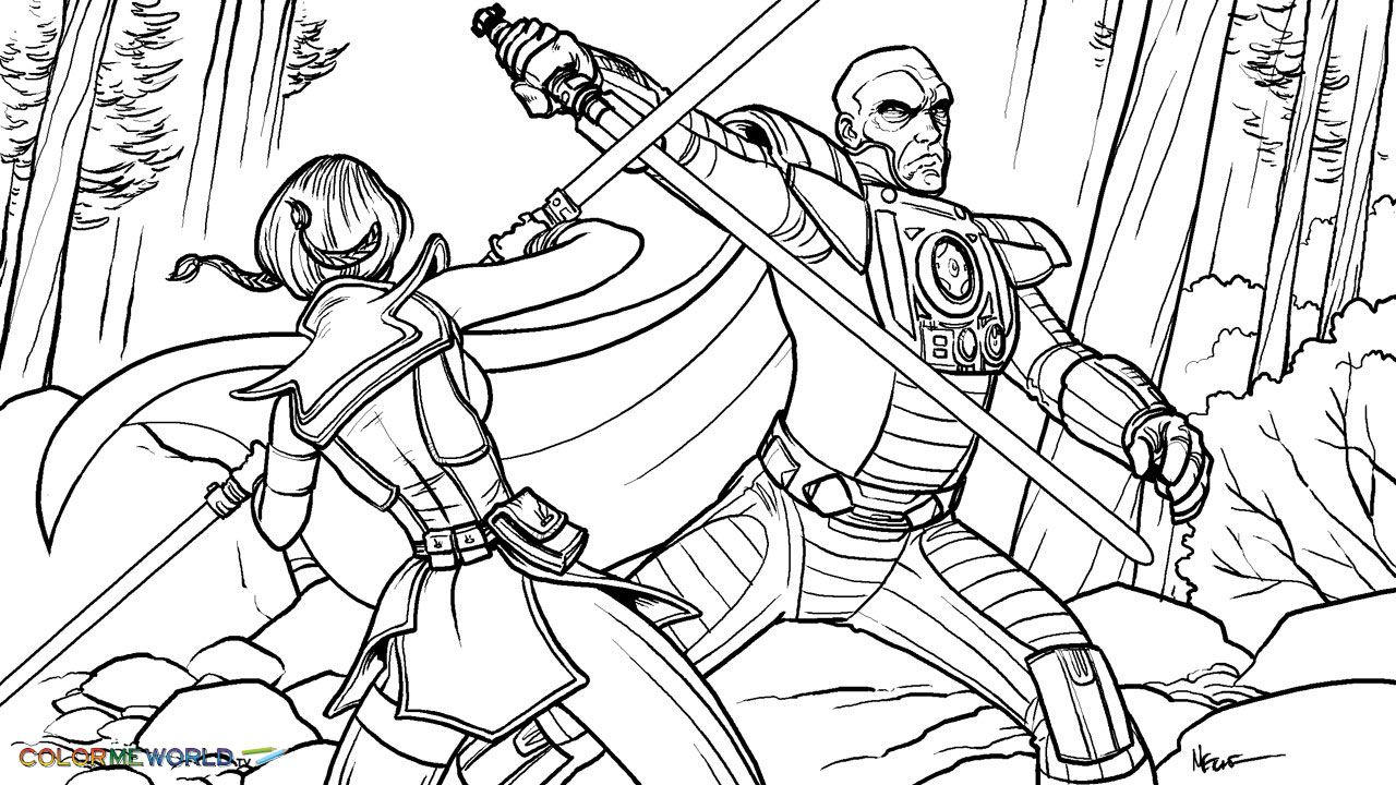 Free printable coloring pages lego star wars - Printable Coloring Page Titled Star Wars Darth Malgus Vs Satele Shan Old Republic