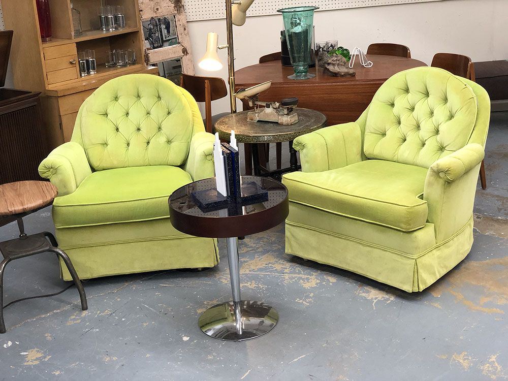 Pair Lime Green Mid Century Chairs 435 Mid Century Dallas