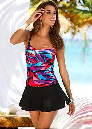 c29a2d91095f3 Pink Printed Leaf Skirt Swim Dress by bpc selection | Bathing suits ...